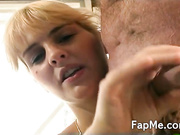 Horny blonde gives a nasty handjob