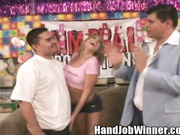 Shawna Lenee tugging Oscar's cock