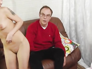 Perverted papa stretches her asshole