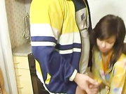 Teen girl getting fucked on the kitchen