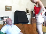 Young babe juming on his aged cock