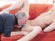 Daddy kissing her tight pussy