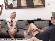 Zazie Skymm gives grandpa a blowjob for lessons