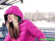 teen showing her tits on the train