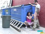 The brunette chick gives hj to a stranger