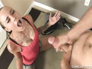 Teen Sasha Foxxx get huge facial cumshot