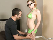 Teen Nadia milking huge prick