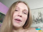 Teen is tugging two big cocks