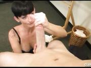 Goth Babe Ivy Reins Gives a Handjob on a Big Cock