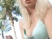 hot blonde stripping and giving a handjob