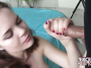 Heidi giving handjob to a massive pecker
