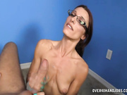 Skinny milf Ella stroking big dick