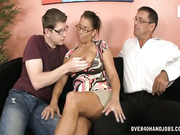 Busty Stacie jerking off her step son