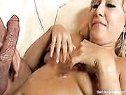 Blonde strokes off long hard cock