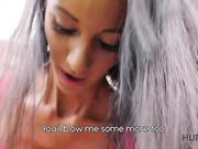 Tanned brunette Liliane enjoys sex for money with stranger