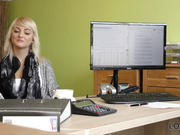 Passionatre fucking on the table in office of loan manager