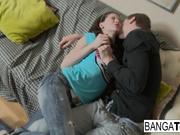 Sweet brunette teen lets her boyfriend cum inside her
