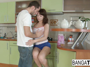 Brunette cutie loves to get fucked in the kitchen