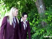 Slutty School Girls Taissia and Lindsay take some Hard Anal
