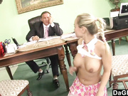 He watches her draining balls and fuckis her ass