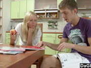 Cute petite blonde sodomized in the kitchen by her