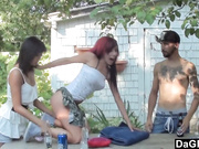 2 emos have sex with their boyfriends in the backyard