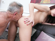Grey-haired teacher asks cutie about a tail in her ass