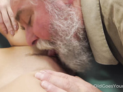 Talented cutie rides old dick in cowgirl style