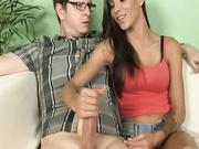 Teen Sasha stroking her boyfriend