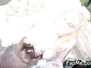 Cute girl wanking two hard dicks