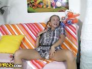 Naked girl fucking big sex toys