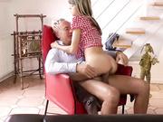 British daughter rides daddys cock