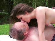Daddy burning from the teen outdoor
