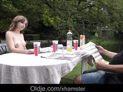 French Young girl outdoor oral slutty sex