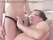 OLD4K. Daddy gives portion of cum to adorable lassie after