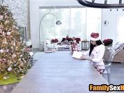 Stepdad puts on santa costume to fuck his  naive daughter