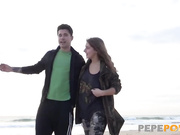 He fucks her young petite teen girlfriend after a beach day